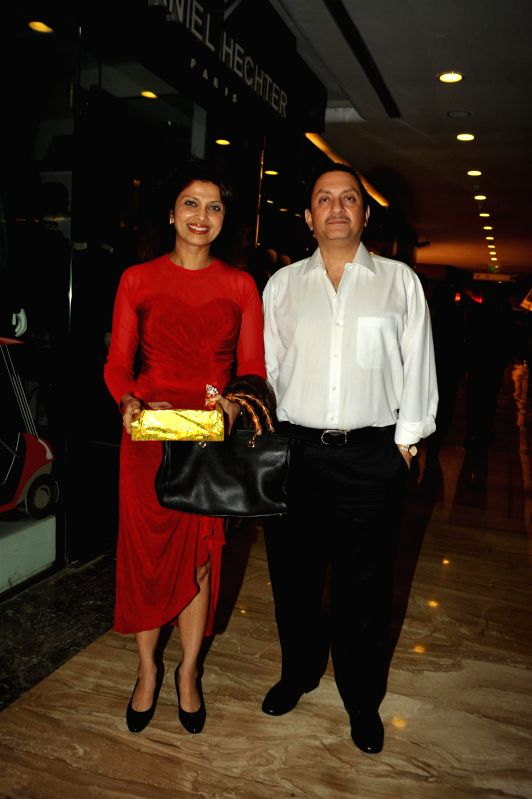 Actor Varsha Usgaonkar along with her husband Ajay Shankar during Choreographer Sandip Soparkar Christmas party and National Achievement Award celebration in Mumbai, on Dec. 22, 2014. - Varsha Usgaonkar