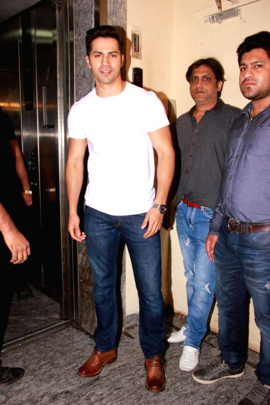 Actor Varun Dhawan during the special screening film Badlapur in Mumbai on Feb 19, 2015. - Varun Dhawan