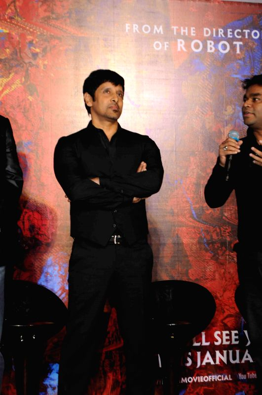 Actor Vikram and music director A R Rehman during the press conference and trailer launch of forthcoming Tamil film `I` in Mumbai on Dec 29, 2014. - Vikram and A R Rehman
