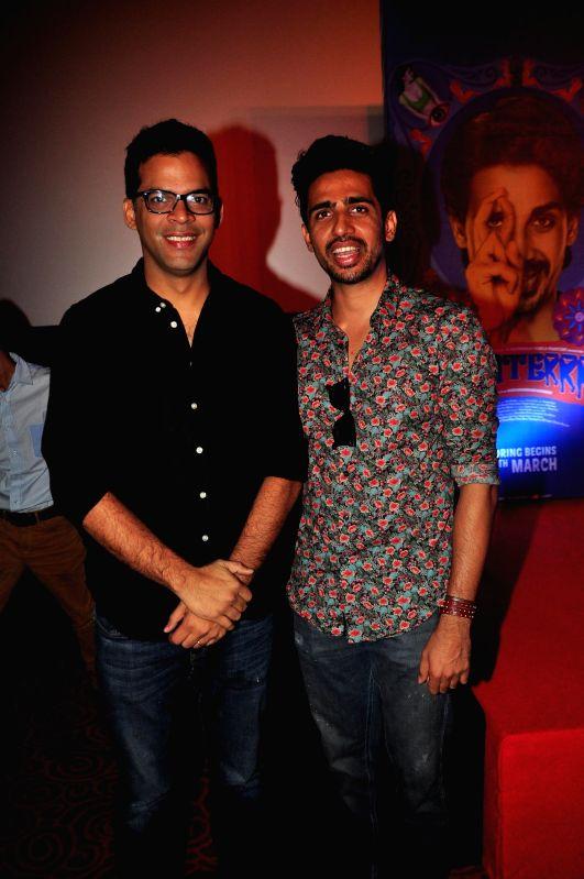 Actor Vikramaditya Motwane and Film Producer Vikas Bahl during the trailer launch of upcoming film 'Hunterrr'in Mumbai, on Jan. 15, 2015. - Vikramaditya Motwane