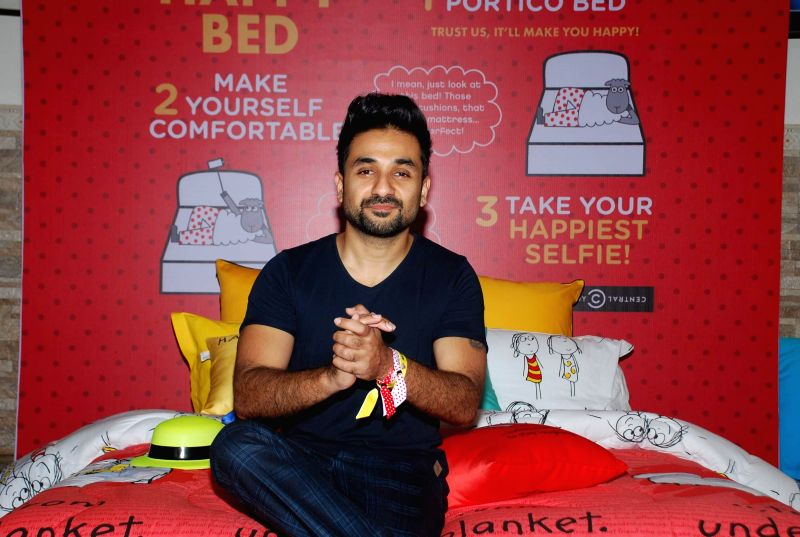 Actor Vir Das during a photo-op on Portico New York PNY Selfie Bed at the Weirdass Grand Pajama Fest in Mumbai, on Jan 26, 2015.