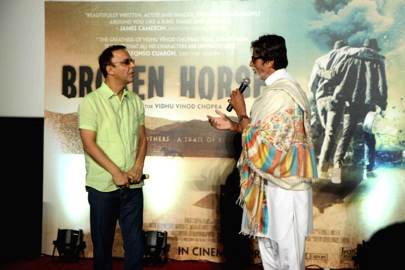 Actors Aamir Khan during the trailer launch of filmmaker Vidhu Vinod Chopra's maiden Hollywood venture Broken Horses at PVR Cinemas in Mumbai  on March 10, 2015. - Aamir Khan and Vidhu Vinod Chopra