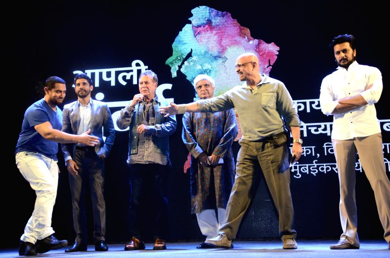 Actors Aamir Khan, Farhan Akhtar, Riteish Deshmukh with screenwriter Salim Khan and lyricist Javed Akhtar during a seminar convened by MNS chief Raj Thackeray to discuss the controversial ... - Aamir Khan, Farhan Akhtar and Riteish Deshmukh