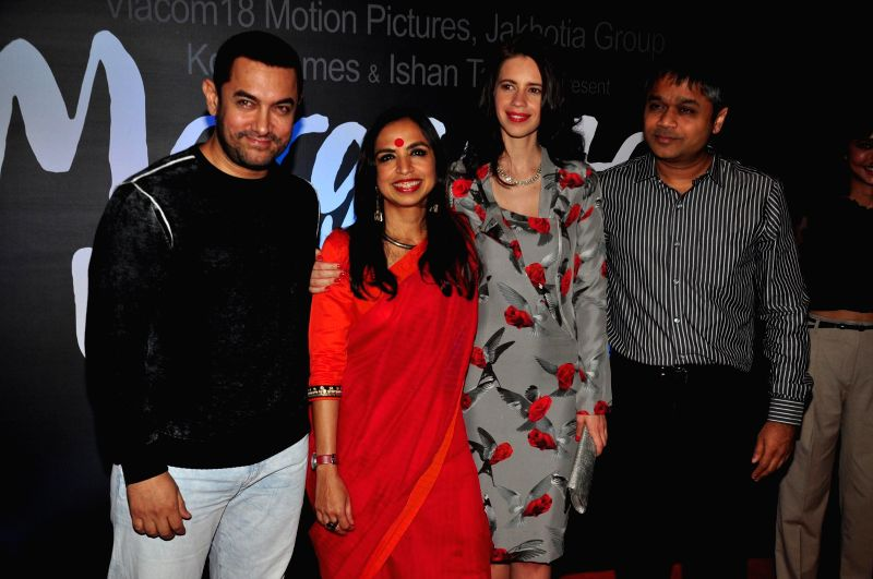 Actors Aamir Khan, filmmaker Shonali Bose,  Kalki Koechlin and Ajit Andhare during the trailer launch of film Margarita, with a Straw in Mumbai on March 4, 2015. - Aamir Khan and Shonali Bose