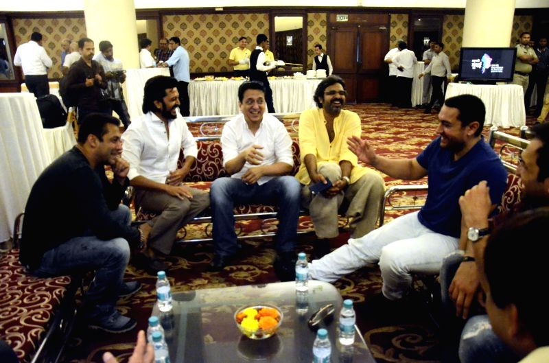Actors Aamir Khan, Salman Khan and Riteish Deshmukh with filmmaker Sajid Nadiadwala during a seminar convened by MNS chief Raj Thackeray to discuss the controversial Mumbai Development ... - Aamir Khan, Salman Khan and Riteish Deshmukh