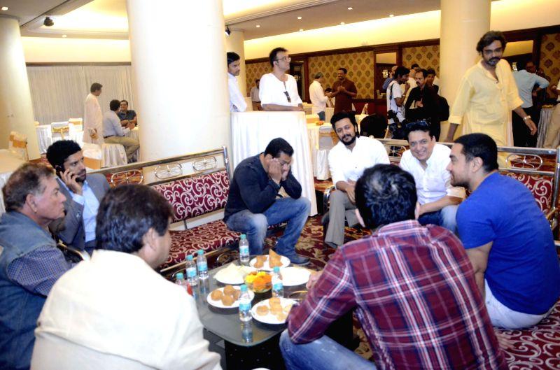 Actors Aamir Khan, Salman Khan, Farhan Akhtar and Riteish Deshmukh with filmmaker Sajid Nadiadwala and screenwriter Salim Khan during a seminar convened by MNS chief Raj Thackeray to discuss ... - Aamir Khan, Salman Khan, Farhan Akhtar and Riteish Deshmukh