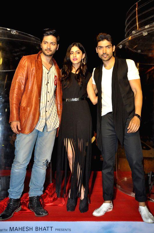 Actors Ali Fazal, Sapna Pabbi and Gurmeet Choudhary during the promotion of film 'Khamoshiyan' in Mumbai in Mumbai on Jan. 15, 2015. - Ali Fazal, Sapna Pabbi and Gurmeet Choudhary