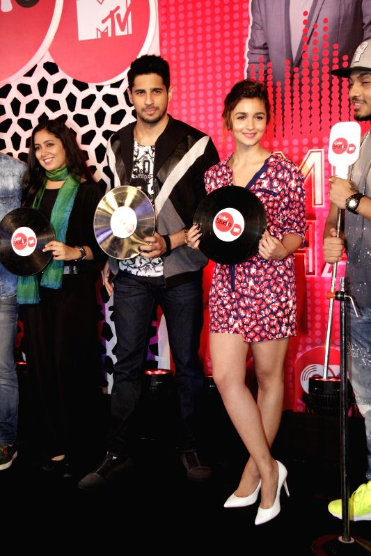 Actors Alia Bhatt and Sidharth Malhotra during the launch of MTV Coke Studio new season in Mumbai on Feb 23, 2015. - Alia Bhatt and Sidharth Malhotra