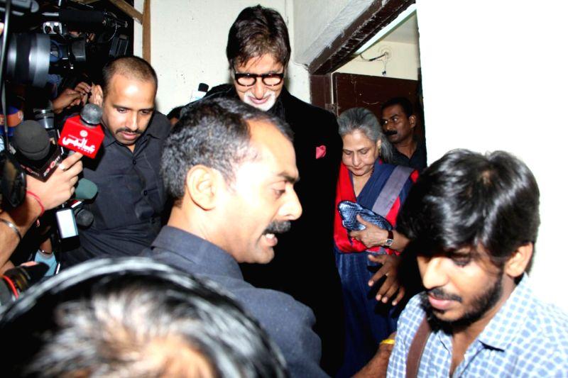 Actors Amitabh Bachchan and Jaya Bachchan during the screening of film Shamitabh in Mumbai, on Feb 5, 2015. - Amitabh Bachchan and Jaya Bachchan