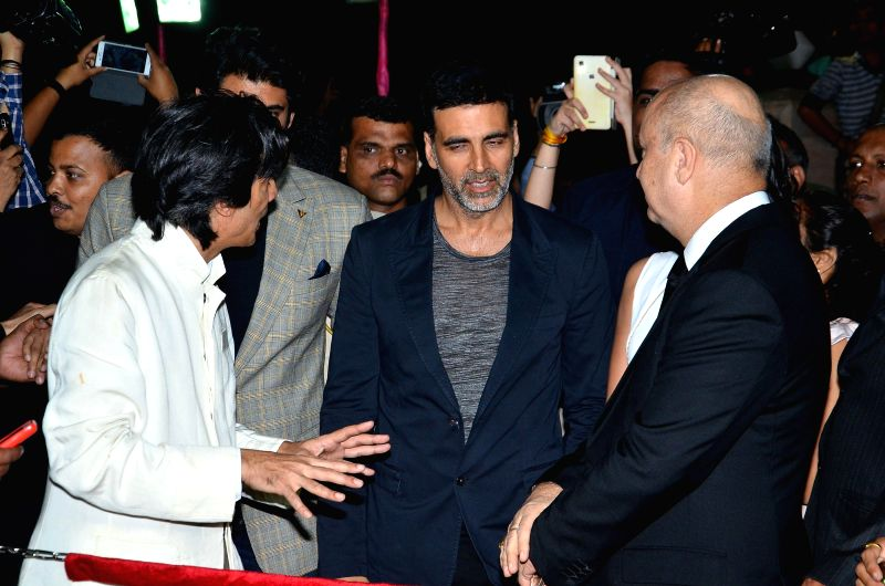 Actors Anupam Kher,Akshay Kumar and Rana Daggubati during the premiere of film Baby in Mumbai, on Jan 23, 2015. - Anupam Kher and Akshay Kumar