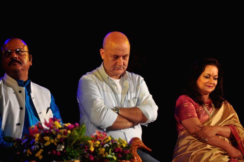 Actors Anupam Kher, Himani Shivpuri and with Waman Kendre, Director, NSD, during the inauguration of National Tribal Festival Adi Rang Mahotsav in Mumbai, on Dec. 12, 2014. - Himani Shivpuri