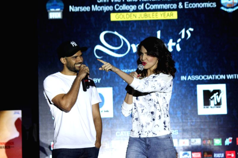 Actors Anushka Sharma and Neil Bhoopalam during the promotion of film NH10 in Mumbai on Feb 17, 2015. (Photo : IANS) - Anushka Sharma and Neil Bhoopalam