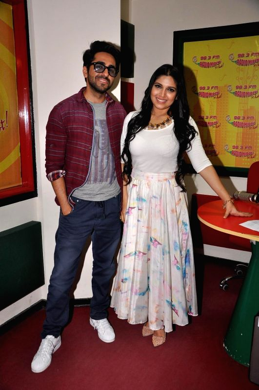 Actors Ayushmann Khurana and Bhumi Pednekar during promotions of Dum Laga Ke Haisha at Radio Mirchi studio in Mumbai on March 13, 2015. - Ayushmann Khurana and Bhumi Pednekar