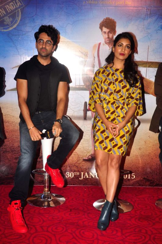 Actors Ayushmann Khurrana and Pallavi Sharda during the trailer launch of film Hawaizaada, in Mumbai, on Dec 23, 2014. - Ayushmann Khurrana and Pallavi Sharda