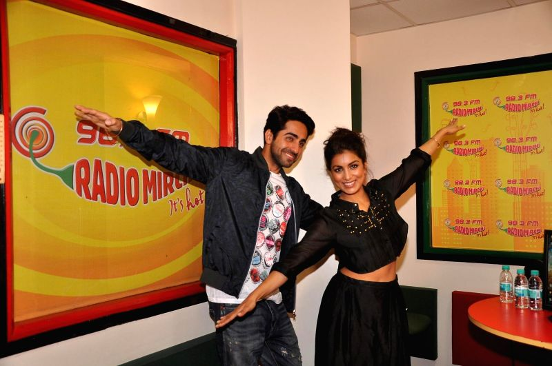 Actors Ayushmann Khurrana and Pallavi Sharda at Radio Mirchi studio for promotion of their upcoming film Hawaizaada in Mumbai, on Jan 08, 2015. - Ayushmann Khurrana and Pallavi Sharda
