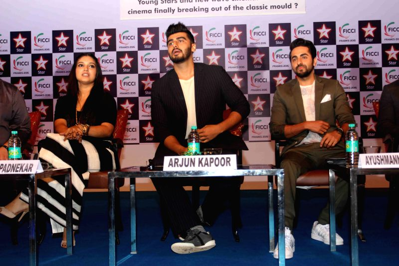 Actors Bhoomi Padnekar, Arjun Kapoor and Ayushmann Khurrana during the session on Young Stars and New Wave Cinema: Is Hindi Cinema Finally breaking out of the classic mood at FICCI frames ... - Bhoomi Padnekar, Arjun Kapoor and Ayushmann Khurrana