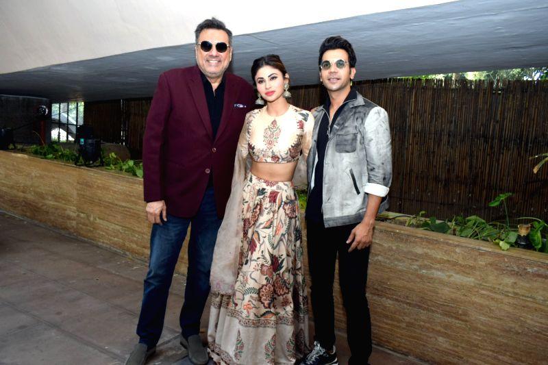 "Mumbai: Actors Boman Irani, Rajkumar Rao and Mouni Roy during a press conference to promote their upcoming film ""Made in China"" in New Delhi on Oct 21, 2019. (Photo: Amlan Paliwal/IANS)"