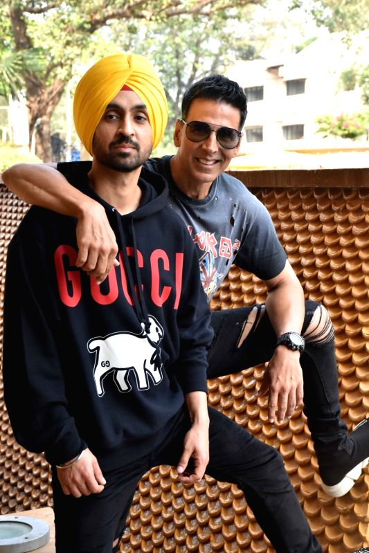 "Mumbai: Actors Diljit Dosanjh and Akshay Kumar during the promotions of their upcoming film ""Good Newwz"" in Mumbai on Dec 12, 2019."