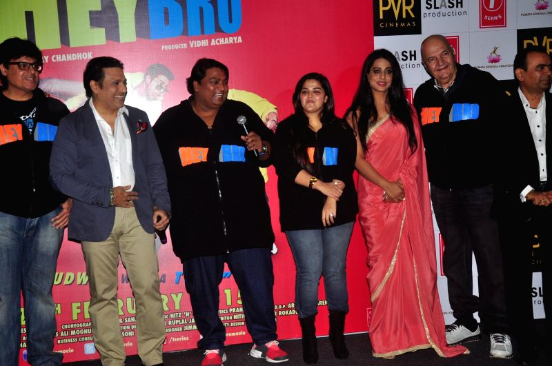 Actors Govinda,Prem Chopra,Mahi Gill Choreographer and actor Ganesh Acharya during the trailer launch of film 'Hey Bro' in Mumbai on Jan. 15, 2015. - Ganesh Acharya, Govinda and Prem Chopra