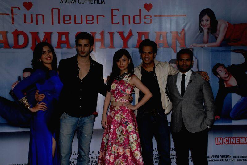 Actors Gunjan Malhotra, Sharib Hashmi, Sidhant Gupta, Karan Mehra, Sharib Hashmi during the press conference of film Badmashiyan in Mumbai on 28th January 2015. - Gunjan Malhotra, Sharib Hashmi, Sidhant Gupta and Karan Mehra