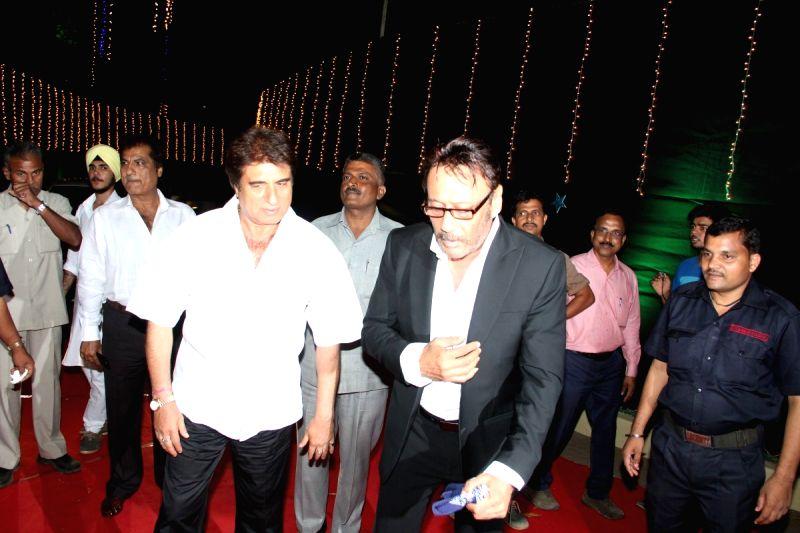 Actors Jackie Shroff and Raj Babbar during the Baisakhi celebration in Mumbai on April 14, 2015. - Jackie Shroff and Raj Babbar
