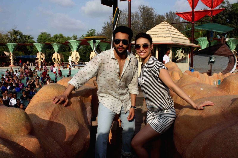Actors Jackky Bhagnani and Lauren Gottlieb promote Welcome To Karachi at 17th anniversary celebrations of Water Kingdom in Mumbai on April 26, 2015.