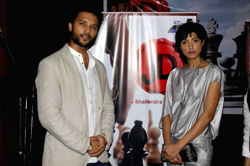 Actors Lalit Bisht and Jesse Randhawa during the muhurat and song recording of film JD in Mumbai,on 5th Jan 2015 - Lalit Bisht and Jesse Randhawa