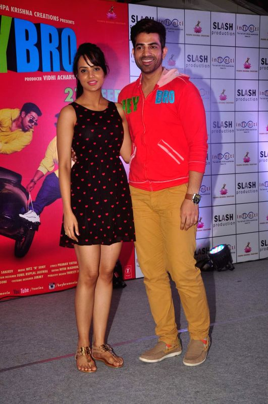 Actors Manindar Singh and Nupur Sharma during the promotion of film Hey Bro in Mumbai on Feb 21, 2015. - Manindar Singh and Nupur Sharma