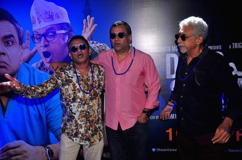 Actors Nasseruddin Shah, Paresh Rawal and Annu Kapoor during the trailer launch of film Dharam Sankat Mein in Mumbai on March 7, 2015. - Nasseruddin Shah, Paresh Rawal and Annu Kapoor