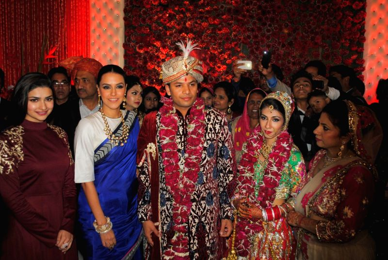Actors Prachi Desai, Neha Dhupia, Atin and Lalita snapped at producer Krishna Choudhary's daughter's wedding in Mumbai on 12th February 2013 . - Prachi Desai, Neha Dhupia, Atin and Lalita