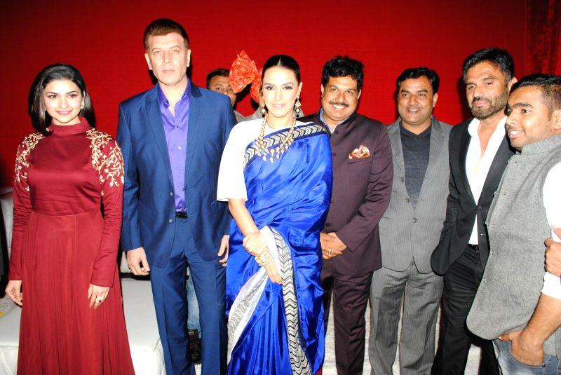 Actors Prachi Desi, Aditya Pancholi, Neha Dhupia, Krishan Choudhary (Bride's father) and Sunil Shetty - Prachi Desi, Aditya Pancholi, Neha Dhupia, Krishan Choudhary and Sunil Shetty
