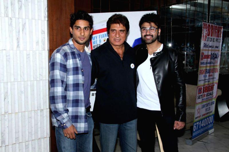 Actors Pratik Babbar, Raj Babbar and Aarya Babbar during Aarya Babbar's book launch in Mumbai on Feb. 4, 2015. - Pratik Babbar and Raj Babbar