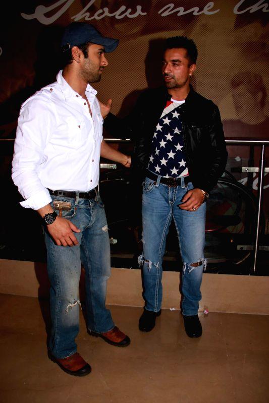 Actors Pulkit Samrat and Ajaz Khan during screening of the film Khamoshiyan in Mumbai on January 29, 2015. - Pulkit Samrat and Ajaz Khan