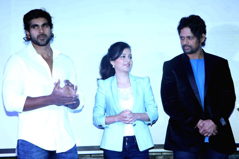 Actors Rajeev Pillai, Sulagna Panigrahi and Rajesh Shringarpure during the first look and music launch of Ek Adbhut Dakshina Guru Dakshina in Mumbai on March 25, 2015. - Rajeev Pillai, Sulagna Panigrahi and Rajesh Shringarpure