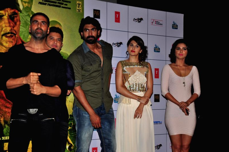 Actors Rana Daggubati, Madhurima Tuli, Taapsee Pannu and Akshay Kumar during the trailer launch of film Baby in Mumbai, on Dec 3, 2014. - Rana Daggubati, Madhurima Tuli, Taapsee Pannu and Akshay Kumar
