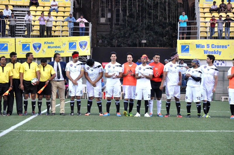 Actors Ranbir Kapoor, Arjun Kapoor and Dino Morea during all stars football match in Mumbai on Feb 26, 2015. - Ranbir Kapoor, Arjun Kapoor and Dino Morea