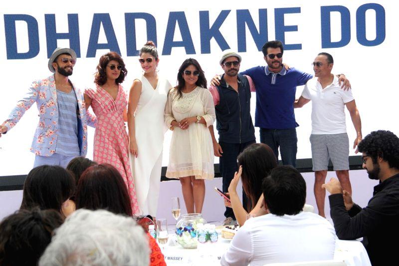 Actors Ranveer Singh, Priyanka Chopra, Anushka Sharma, Shefali Shah, Farhan Akhtar, Anil Kapoor and Rahul Bose during the promotion of film Dil Dhadakne Do in Mumbai, on May 3, 2015. - Ranveer Singh, Priyanka Chopra, Anushka Sharma, Shefali Shah, Farhan Akhtar, Anil Kapoor and Rahul Bose