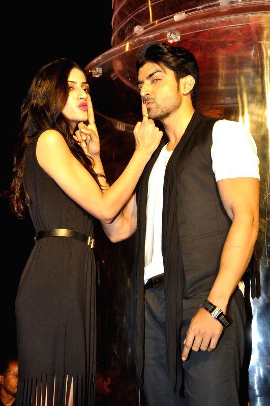 Actors Sapna Pabbi and Gurmeet Choudhary during the promotion of film 'Khamoshiyan' in Mumbai in Mumbai on Jan. 15, 2015. - Sapna Pabbi and Gurmeet Choudhary