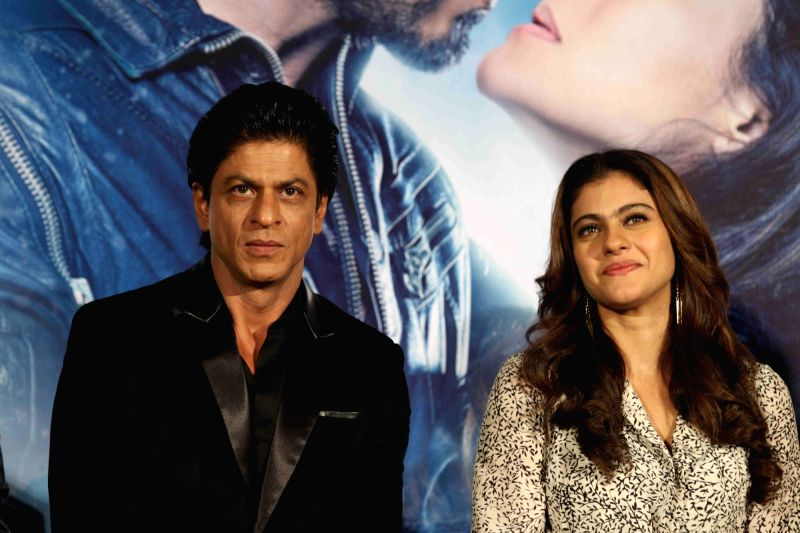 :Mumbai: Actors Shah Rukh Khan and Kajol during the song launch of film Dilwale in Mumbai on Nov 18, 2015. (Photo: IANS).