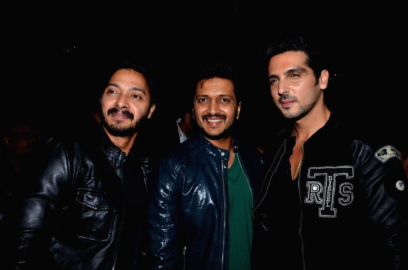 Actors Shreyas Talpade, Riteish Deshmukh and Zayed Khan during the launch of Nadiadwala first Marathi film Murder Mystery in Mumbai, on Dec. 15, 2014. - Shreyas Talpade, Riteish Deshmukh and Zayed Khan