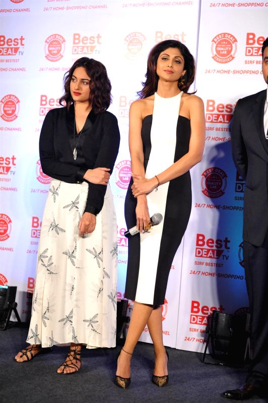 Actors Sonakshi Sinha and Shilpa Shetty during launch of Best Deal TV, India's first celebrity driven 24/7 Home Shopping Channel in Mumbai on March 5, 2015. - Sonakshi Sinha and Shilpa Shetty