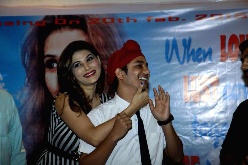 Actors Sudhanshu Agrawal and Shrishti Sharma during the promotion of film Monsoon in Mumbai on 18th Feb, 2015. - Sudhanshu Agrawal and Shrishti Sharma