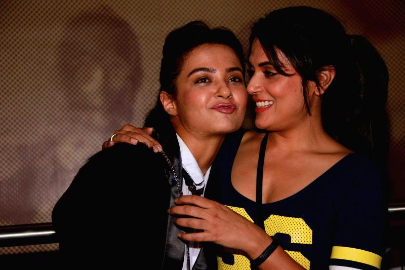 Actors Surveen Chawla and Richa Chadda during screening of the film Khamoshiyan in Mumbai on January 29, 2015. - Surveen Chawla and Richa Chadda