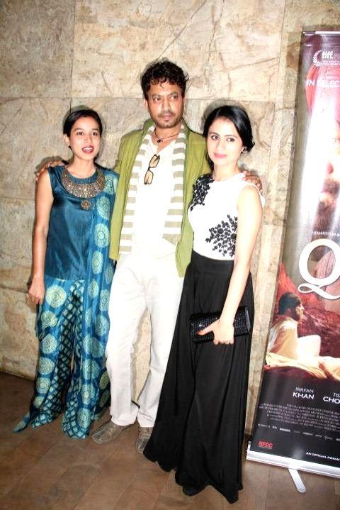 Actors Tillotama Shome, Irrfan Khan and Rasika Duggal during the screening of film Qissa, in Mumbai on Feb 19, 2015. - Tillotama Shome, Irrfan Khan and Rasika Duggal