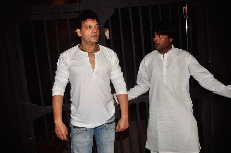 Actors Usman Khan and Mahesh Saini during launch of film Qaidi No 210 in Mumbai, on Feb 16, 2015. The film is based on Bollywood actor Salman Khan's involvement in the infamous blackbuck ... - Salman Khan, Usman Khan and Mahesh Saini