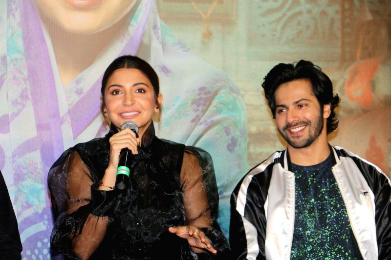 "Mumbai: Actors Varun Dhawan and Anushka Sharma during a press conference organised for the success of their film ""Sui Dhaaga - Made in India"" in Mumbai on Oct 5, 2018. (Photo: IANS)"