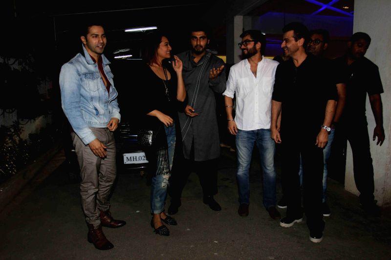 Actors Varun Dhawan, Sonakshi Sinha, Arjun Kapoor, filmmaker Amit Sharma and Sanjay Kapoor during the special screening of film Tevar in Mumbai, on jan. 08, 2015. - Varun Dhawan, Sonakshi Sinha, Arjun Kapoor, Amit Sharma and Sanjay Kapoor
