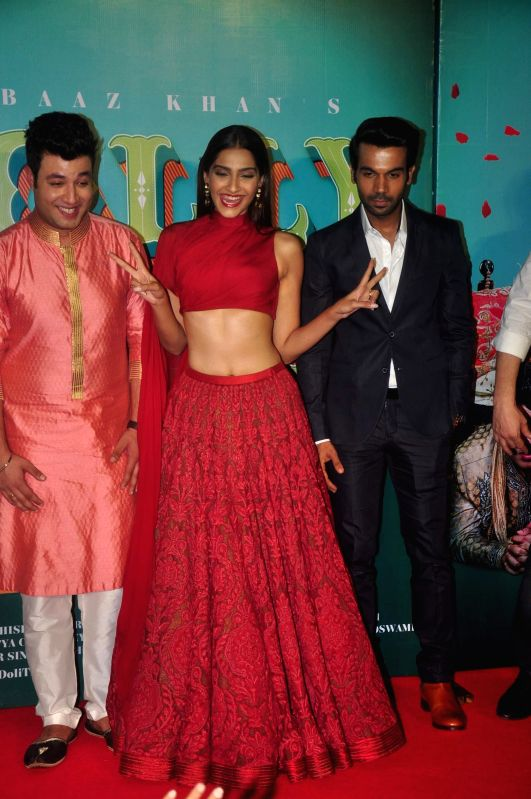 Actors Varun Sharma, Sonam Kapoor and Rajkummar Rao during the trailer launch of film Dolly Ki Doli in Mumbai, on Dec. 12, 2014. - Varun Sharma, Sonam Kapoor and Rajkummar Rao