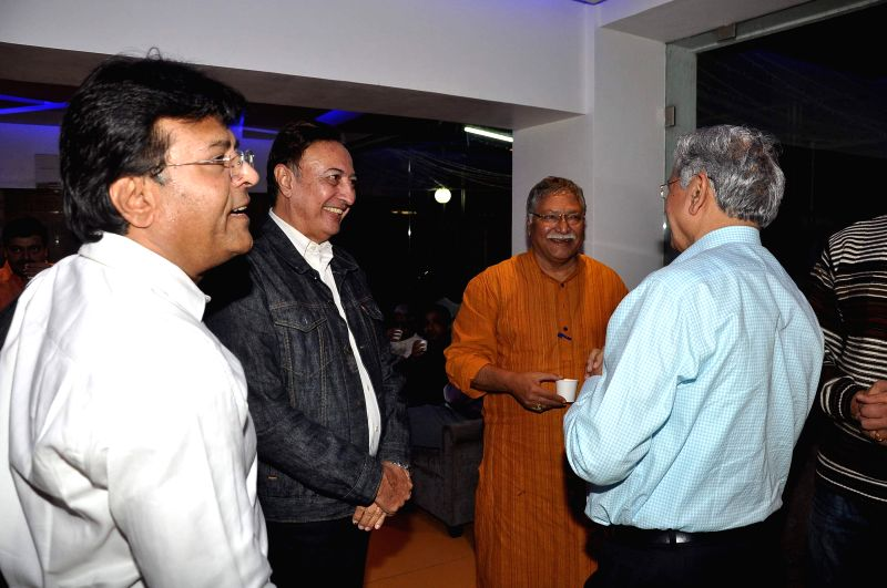 Actors Vikram Gokhale and Anang Desai during the screening of film Take It Easy in Mumbai on Dec 30, 2014. - Vikram Gokhale and Anang Desai