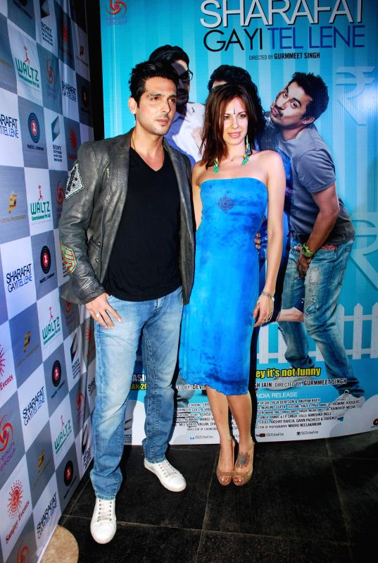 Actors Zayed Khan and Talia Benson during the music launch of film Sharafat Gayi Tel Lene in Mumbai on Thursday, Dec 11, 2014. - Zayed Khan and Talia Benson